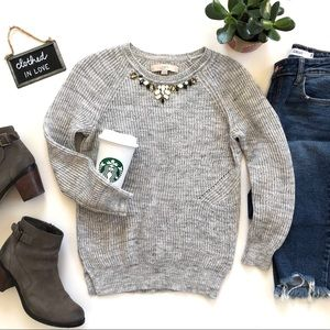 LOFT Grey Cotton Blend Jewel Neckline Sweater